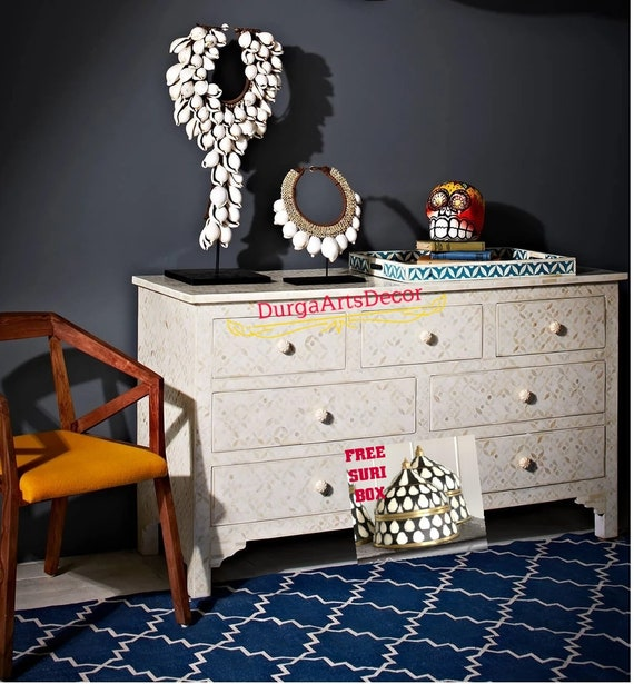 Bone inlay Chest of 5 Drawers Geometric Design in White color with Free Shipping