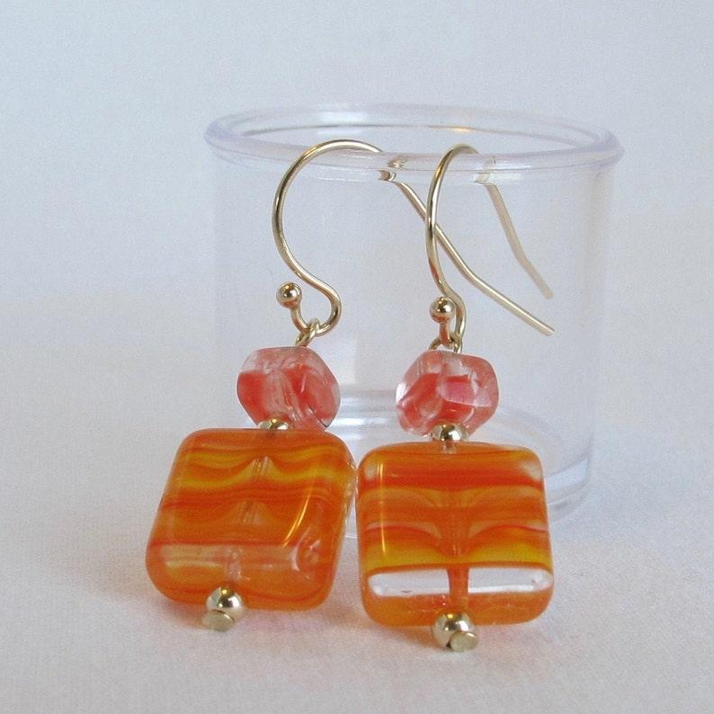 Amber Coloured Gold Foil Lampwork Glass Cylinder Shaped Drop Hook Earrings.