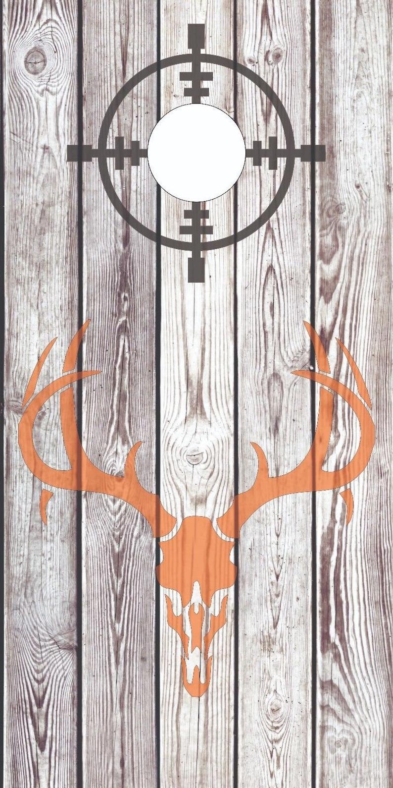 Deer Skull Hunting wood Cornhole Board Skin Wrap Decal SET w FREE Lamination