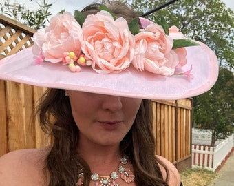 Pink Organza Broad Brim Hat with Pink Roses