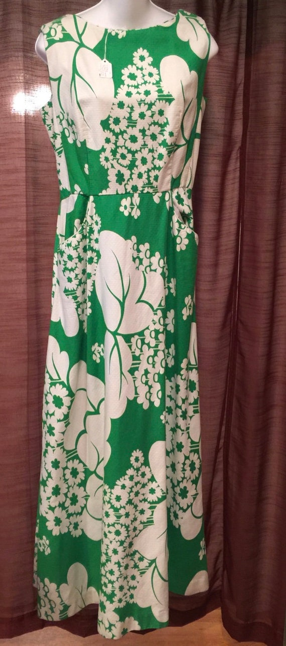 Vintage Hawaiian Dress, Malia of Honolulu, Green F