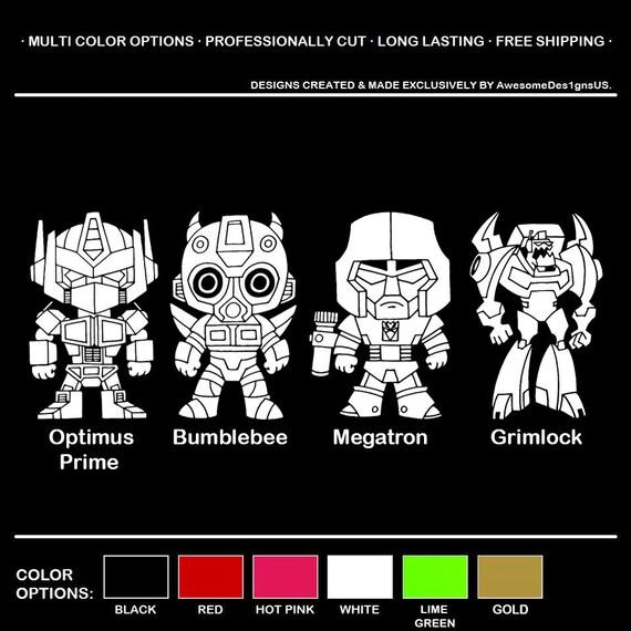 1 sheet Transformers Optimus Prime Bumblebee Vinyl Sticker 5 stickers