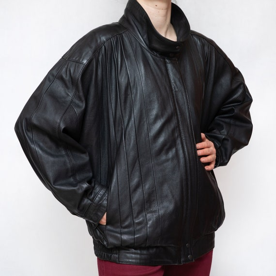 Vintage 80s Black Leather Jacket XXL