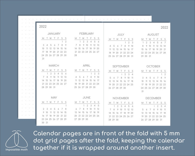 Minimalist calendar 2020-2022 pocket size/field notes size ...