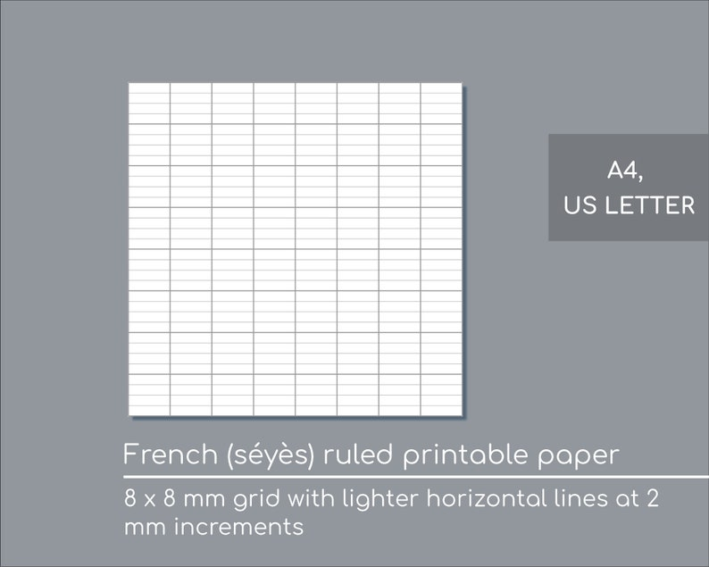 photo about A4 Printable Paper known as French dominated printable paper - seyes dominated - A4 and US Letter