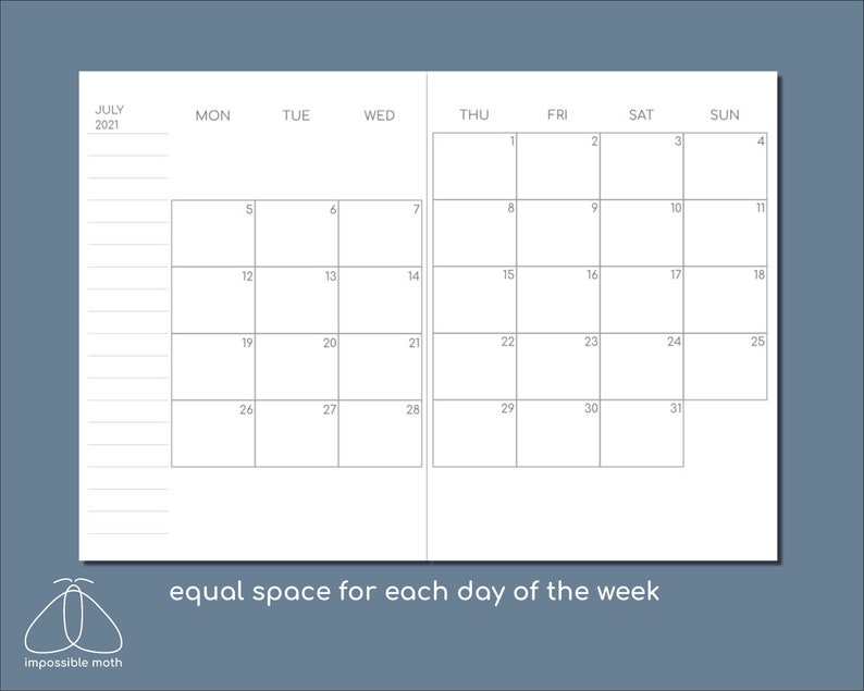 2021 Monthly Calendar Field Notes/Pocket size printable TN ...