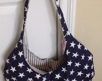 Stars &Stripes Hoop Tote, reversible, bag, gift, school, travel, shopping,,Pocke, travel,  carryon