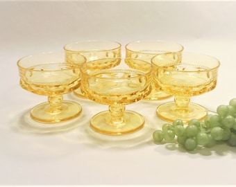 Set of 5 Indiana Glass Kings Crown Amber Yellow Thumbprint Vintage Dessert Cups.