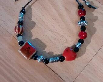 Red, black and silver ceramic bracelet