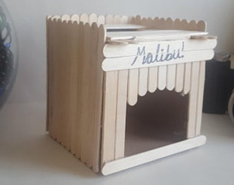 Small animal house, Popsicle sticks, personalised.