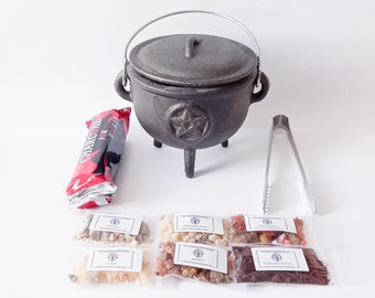 Cauldron Starter Set - Witch , Wicca, Pagan, Ritual, Magic, Occult, Voodoo, Wiccan, Spell Casting, Candles, Herbs