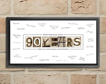90th Birthday Guest Book Gift Woman Poster 90 Year Old Sign