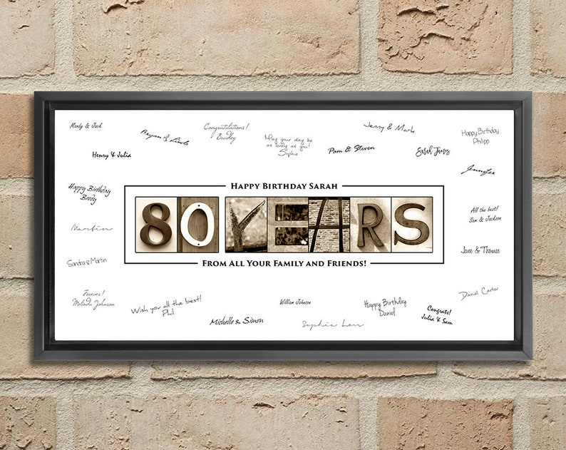 80th Birthday Guest Book Gift Him Her