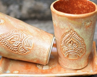 Set of 2 hand-built tumblers and tray, with a stamped surface in  gorgeous golden brown glaze. Handmade pottery. Handmase Lassi Glasses.