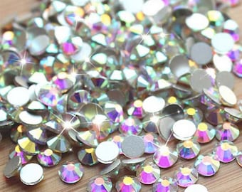 303cabd1d Crystals flat back stones gems rhinestones non hotfix 1440 piece crystal ab  clear ALL Sizes for design nails clothes shoes art