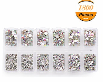 d87c7069e 1.3mm-4.8mm Mix Size 1800pcs Nail Art Crafting Crystal AB Rhinestones  Flatback Glass Gems with Plastic Container
