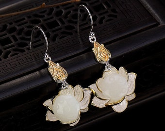 Wife Birthday Gift Gift for Woman Natural Hetian Jade Lotus Flower Earrings Beauty Gift for Girlfriends Silver 925