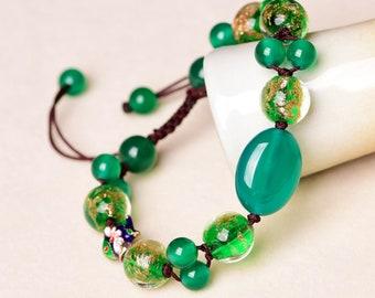 Green Jade Bracelet Infinity Charm Bracelet Green Agate Chinese Bracelet Cloisonne Statement Bracelet Crystal Bracelet Unique Gift