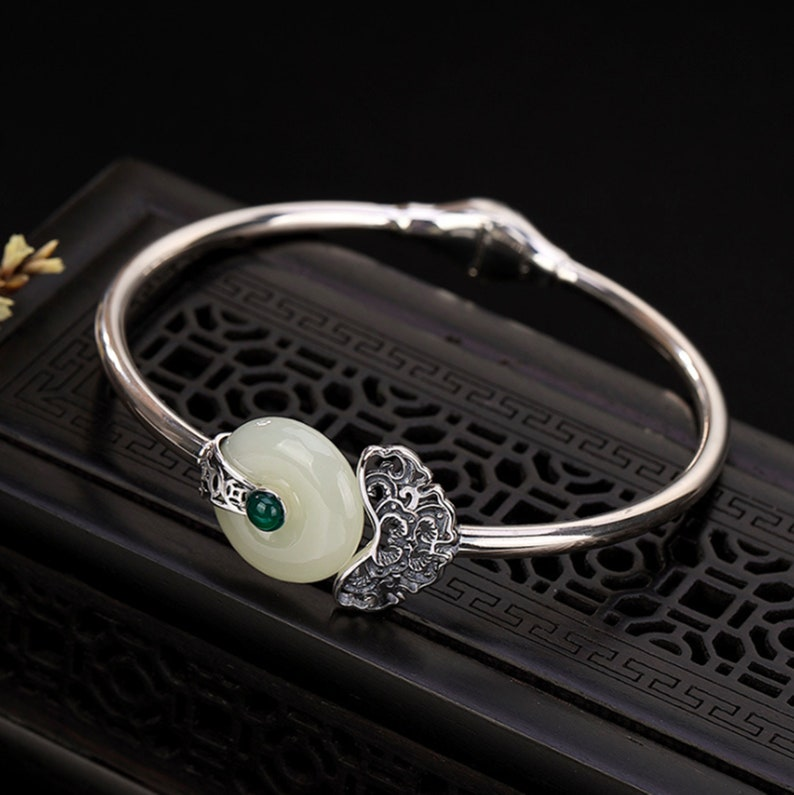 Vintage Hetian Jade Heart Bangles Minimalist Silver Bangles Women Bangles Pure Silver Bracelet Bangle