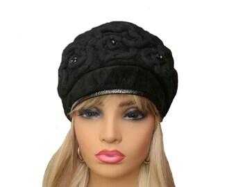 Winter womens hat Winter leather hat Women s leather  79ee2da3817