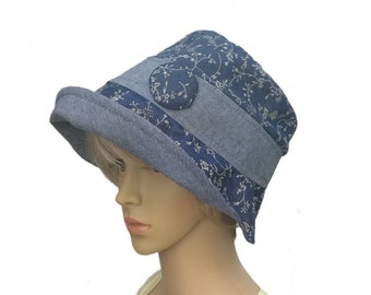 Women's blue sun hat, Cotton summer hat, Lightweight hat, Cloche summer hat, Womens Flapper Hats, Women's panama hat, Fashion womens hat