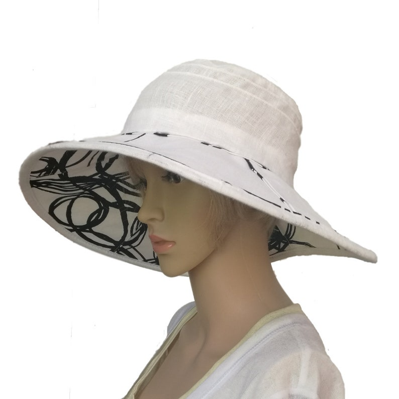 f87908a6 White linen sun hat Ladies hat summer Fashion church hat | Etsy