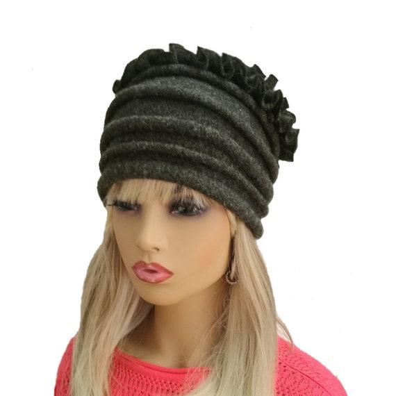 Felted wool hat Womens felt hat Felt winter hat Gray wool  2bd6179c12