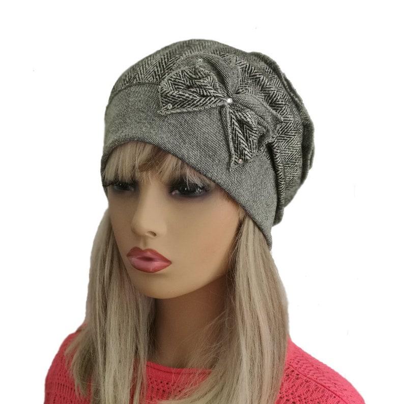 c18edd15c52 Gray women s hat Slouchy beanie hat Fall winter beanie