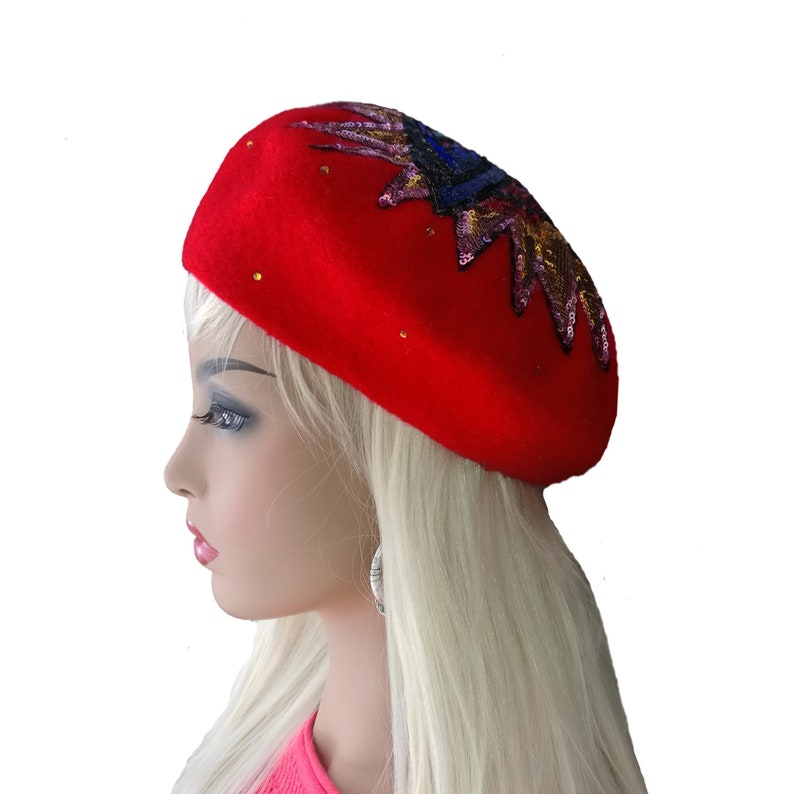 36264aedfe5d6 Red french beret Felted wool beret Womens beret hat Red