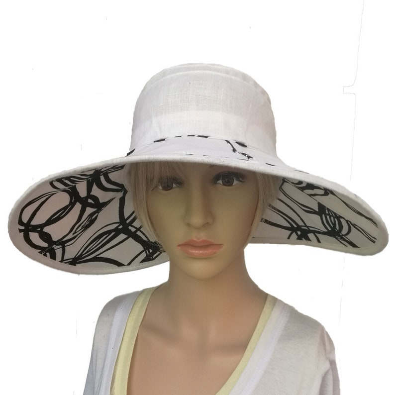 8a1fe4cfbf8b2 White linen sun hat Ladies hat summer Fashion church hat