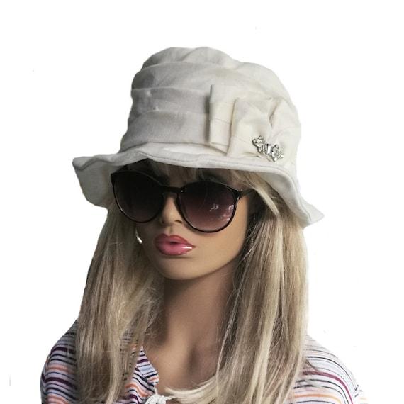 White linen hat Women s summer hat Ladies white hat  288520db452