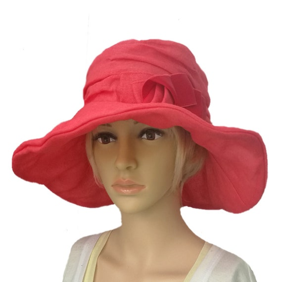 95ff3d2915a24 Wide brim Derby Hat Red Women s sun hat Summer brimmed