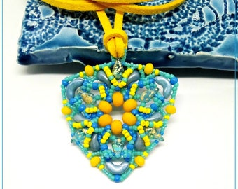 Yellow blue triangle pendant, triangular pendant, woman's gift Idea, beaded pendant, hand made summer pendant