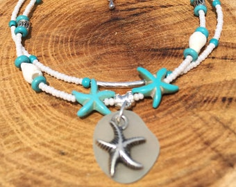 Turquoise SeaGlass Anklet