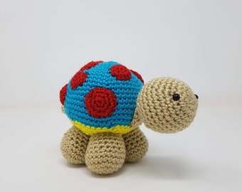 Soft Yellow-Belly Blue Turtle with Red Spots
