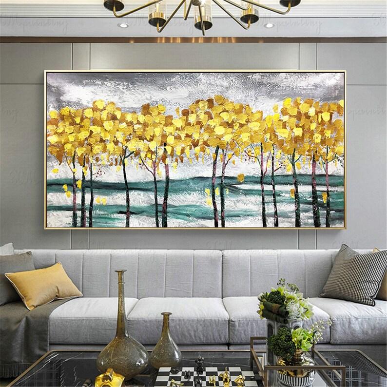 Gold Bäume abstrakte Gemälde auf Leinwand Wand Kunst Bilder für Wohnzimmer  Haus Acryl Wand Dekor gold Art strukturierte Landschaft Quadros Dekor