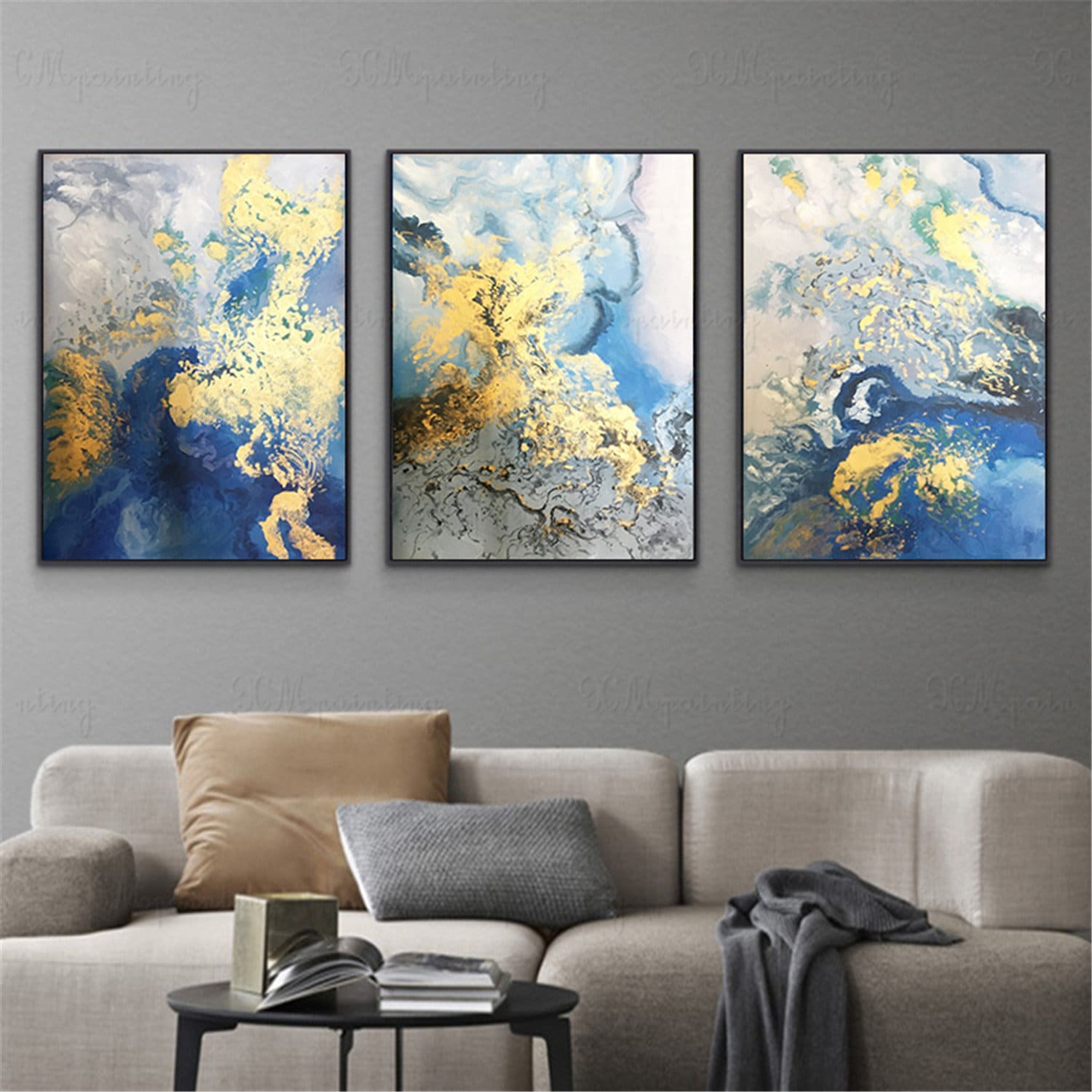 Abstract Painting Framed Wall Art Set of 3 Prints Abstract Green Blue and Yellow  Painting  Large 3 piece  Wall Art prints Ready to Hang