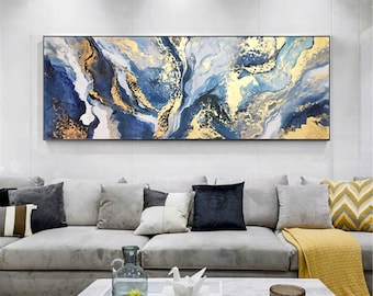 Gold art abstract painting canvas wall art for living room wall decor home decor original Frame navy blue acrylic handmade gold leaf artwork