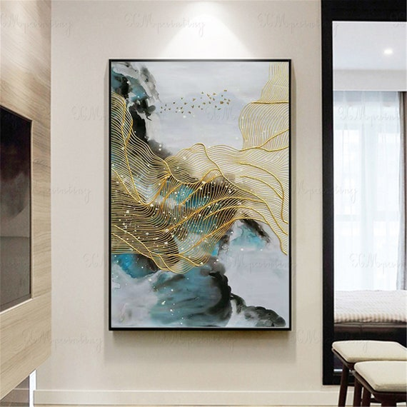 Gold Art Abstract Painting Canvas Wall Art Pictures For Living Room Wall Decor Hallway Home Original Blue Acrylic Art Gold Lines Decoration