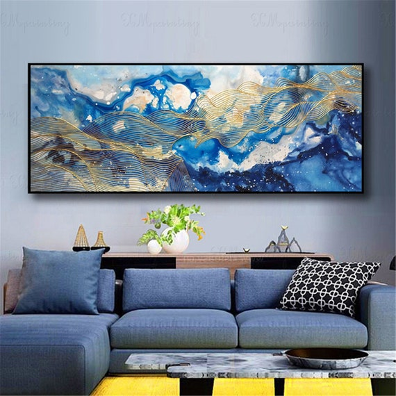 Gold art abstract painting wall art picture for living room wall decor home  decor original Gold line blue flow color acrylic canvas painting
