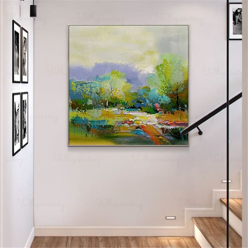 Abstract painting canvas wall art pictures for living room wall decor home decoration Original acrylic texture gold art landscape green tree