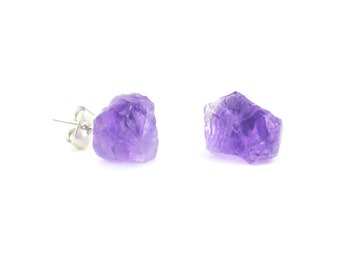 Raw Purple Amethyst Chunk Earrings Geo Earrings Rock Stud Earrings Crystal Earrings