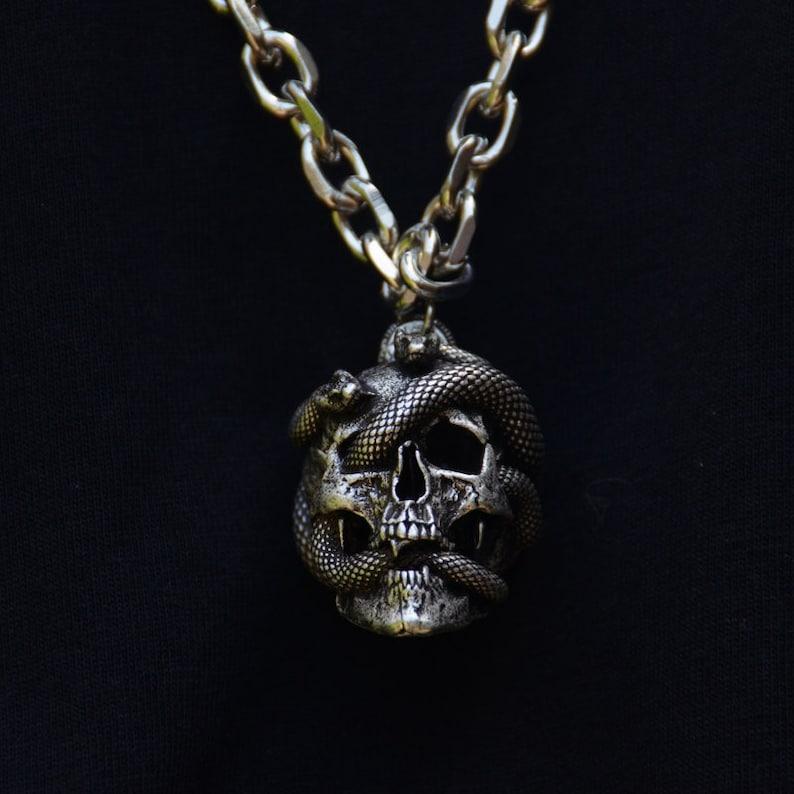 Medusa Jewelry Snake Skull Pendant Necklace For Men Women image 0