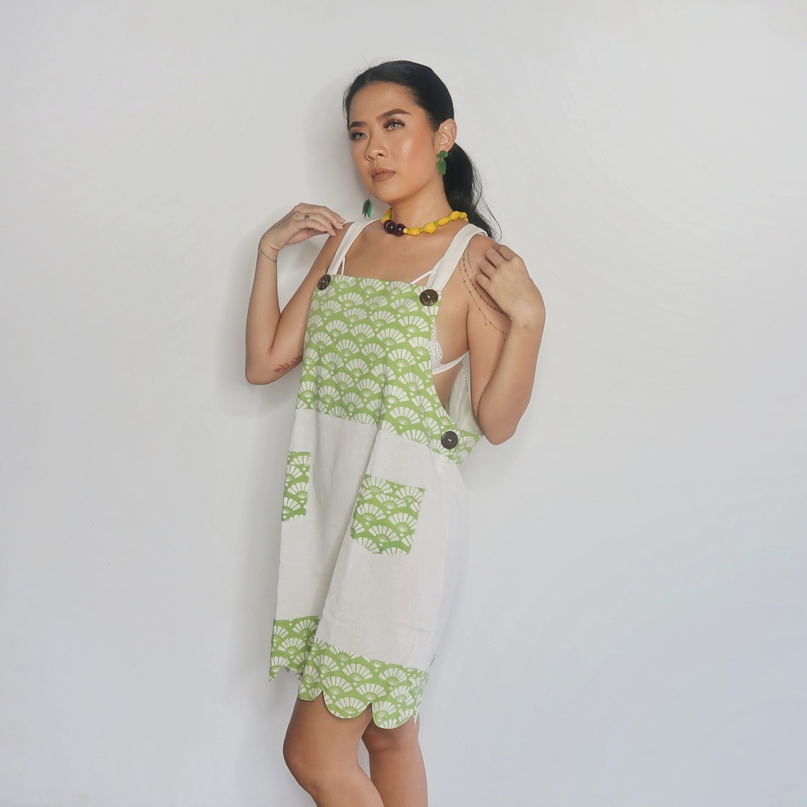 Overall Dress Batik Indonesia Oedel Green Tosca