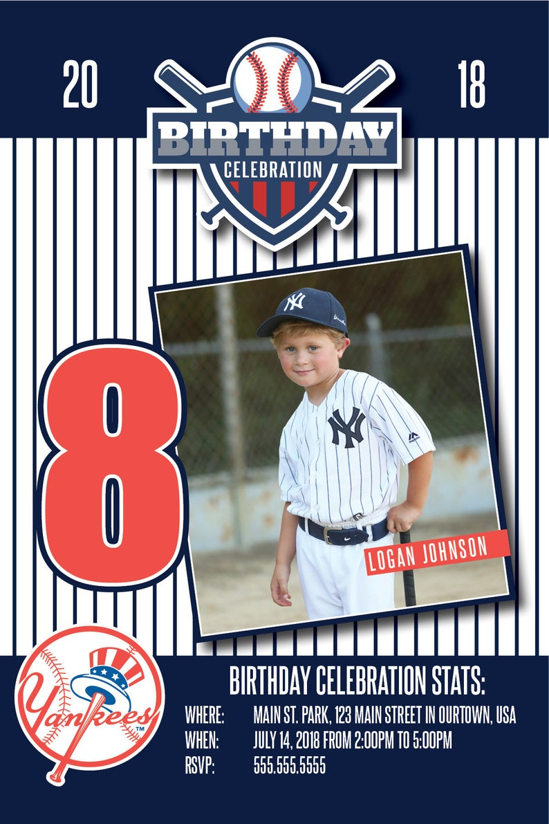 Custom Baseball Theme Party Invitations 4x6