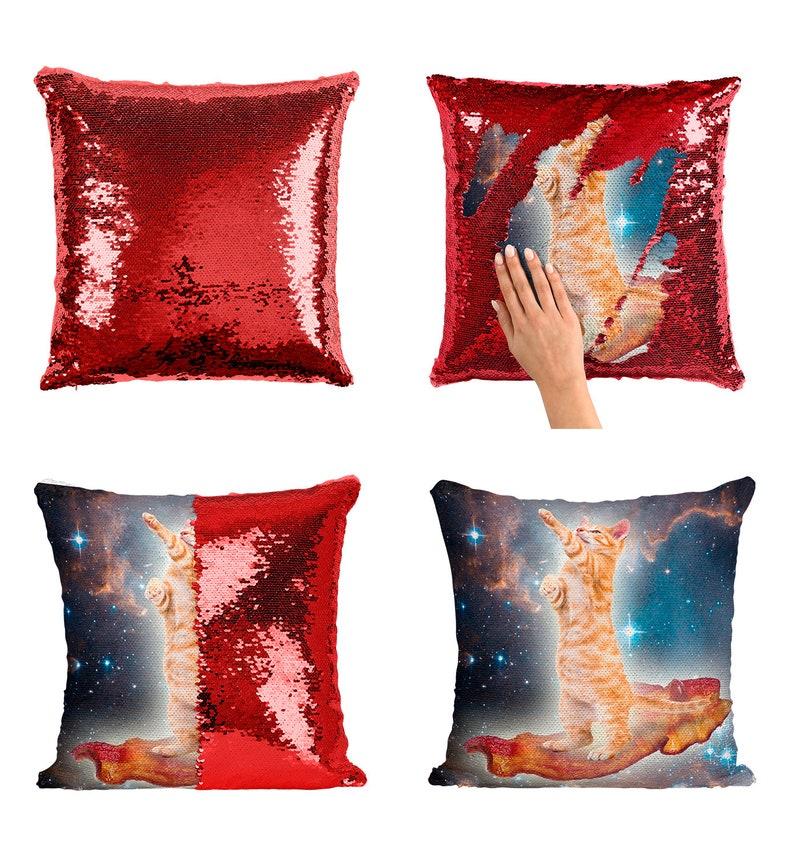 103debbe5d Cat Spaceship sequin pillow funny sequin Pillowcase Pizza Cute
