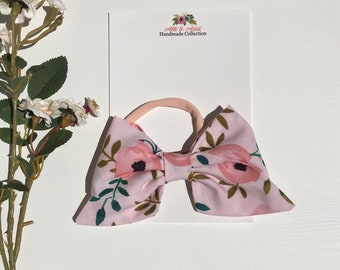 Pink floral handmade fabric bow