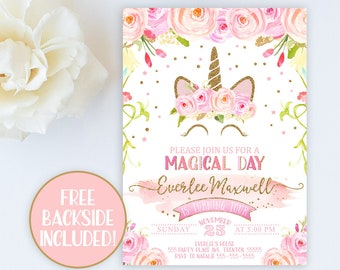 Unicorn Invitation Birthday Party 1st Blush Pink Floral Gold Confetti