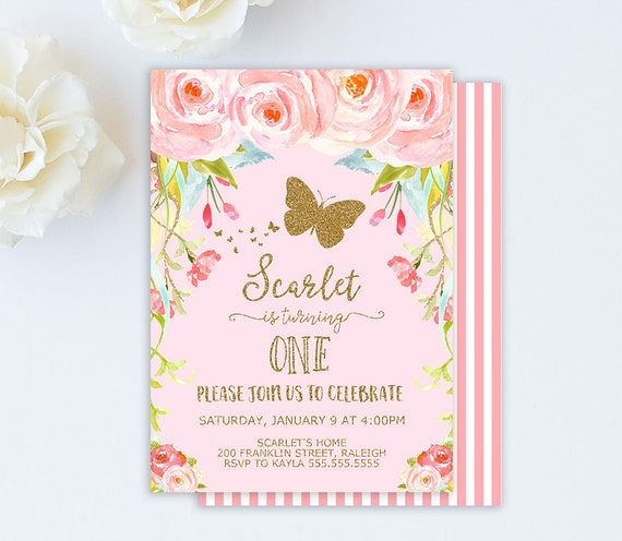 Butterfly Invitation Birthday 1st