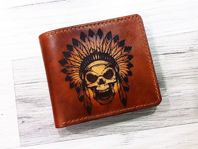 Indian Skull Genuine Handmade Leather Wallet Men